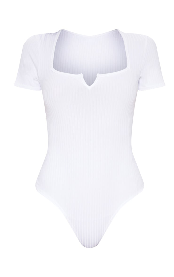 White Rib Short Sleeve Thong Bodysuit 3