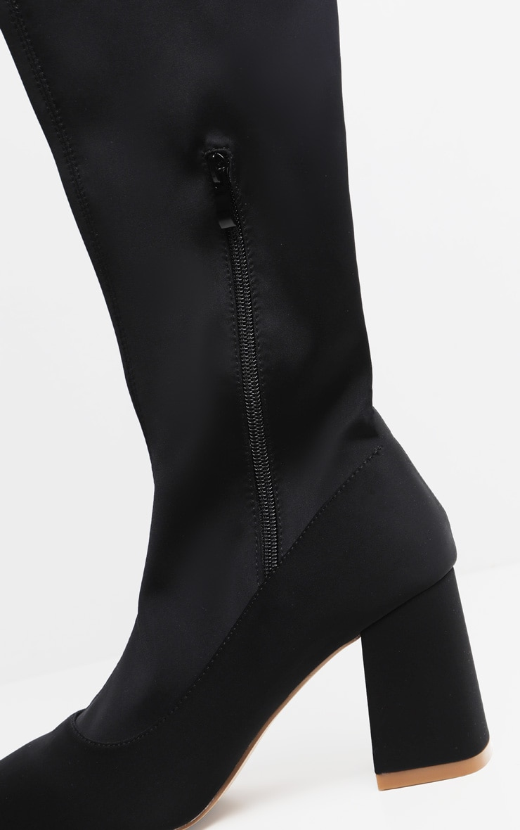 Black Wide Fit Low Block Heel Thigh High Boot 4