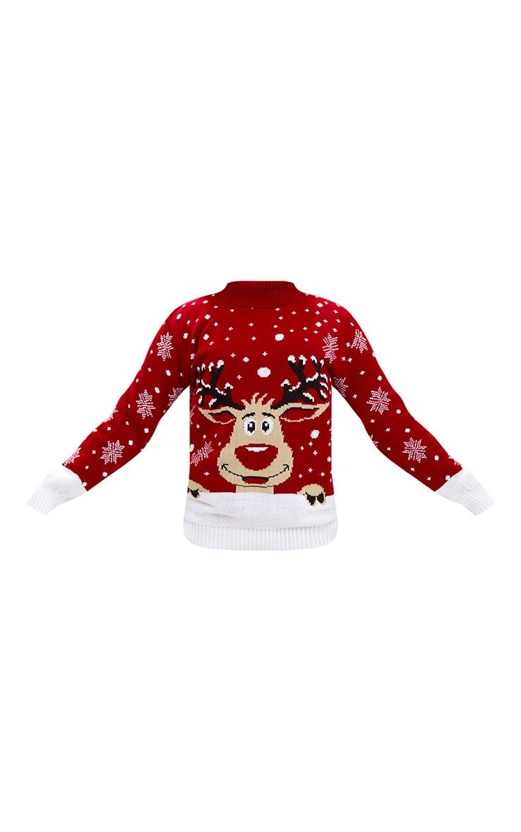 Pull de Noël rouge renne 3