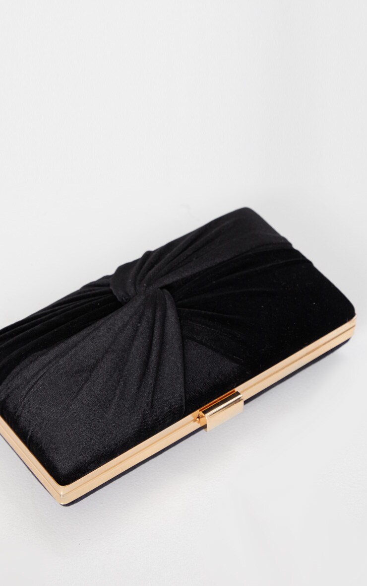Black Velvet Knotted Front Box Clutch 3