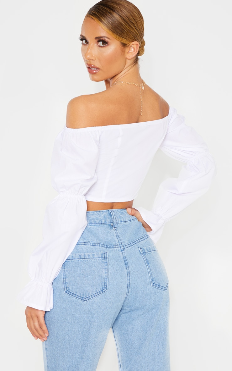 White Button Front Bardot Puff Long Sleeve Crop Top 2