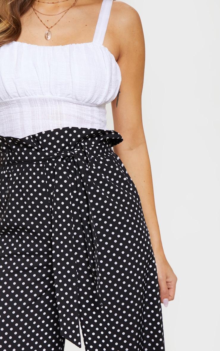 Mono Polkadot Tie Waist Paperbag Wide Leg Pants 5