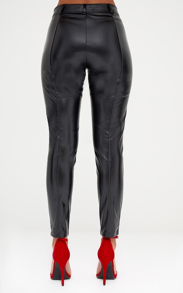Black PU Zip Front Skinny Trousers 5