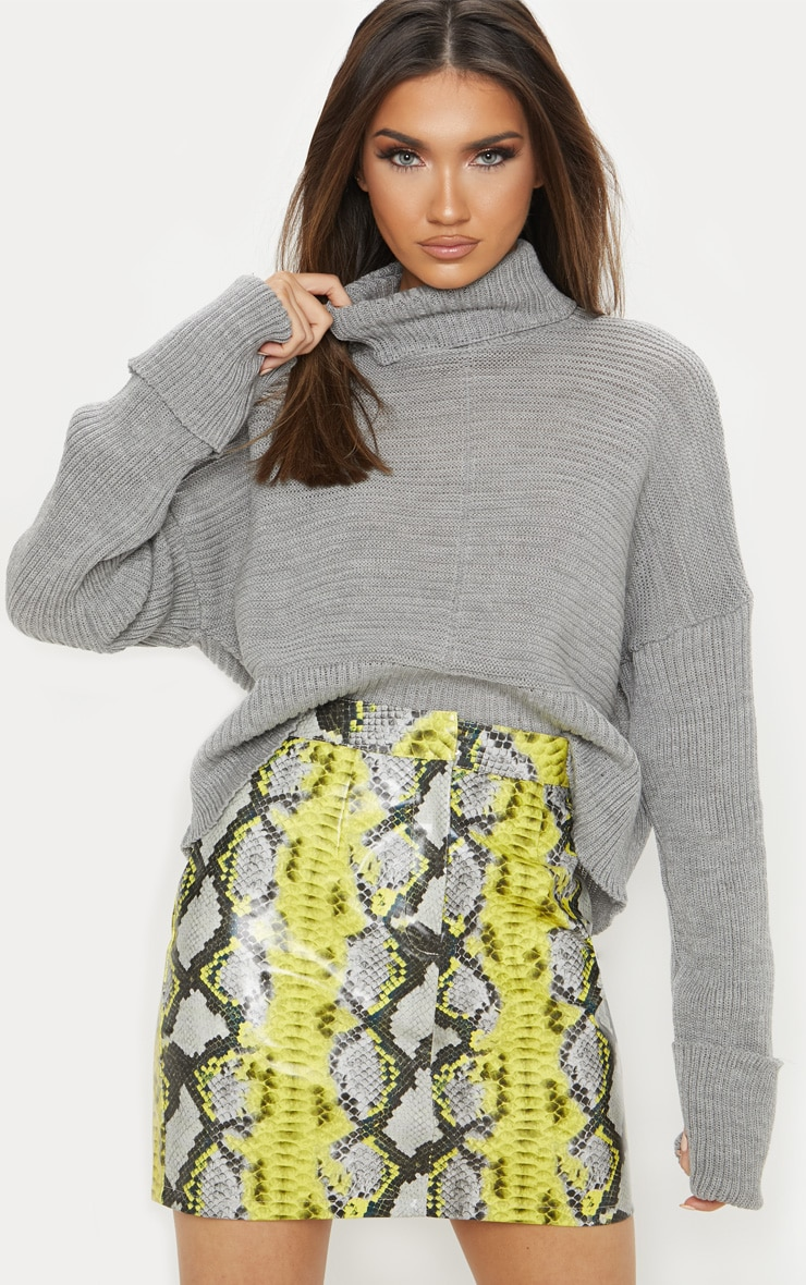 Grey Chunky Ribbed Knitted Jumper  4