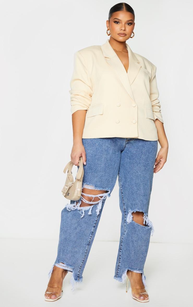 PLT Plus - Blazer oversize gris pierre à épaulettes et double boutonnière 3