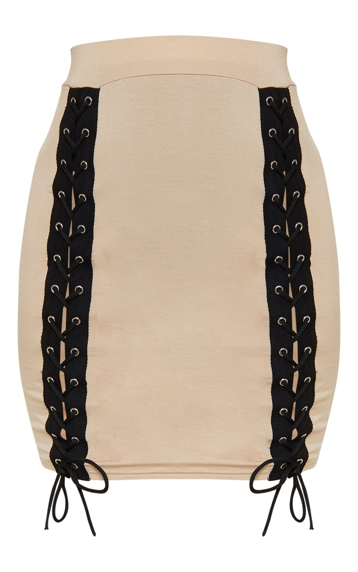 Stone Jersey Double Lace Up Detail Mini Skirt 3