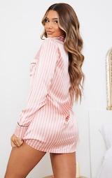 Pink Satin Striped Night Shirt 2