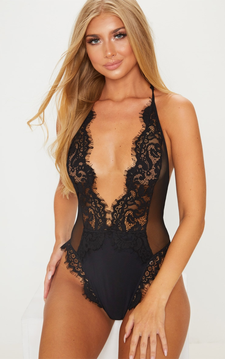 Black Eyelash Lace Back Detailed Body 1