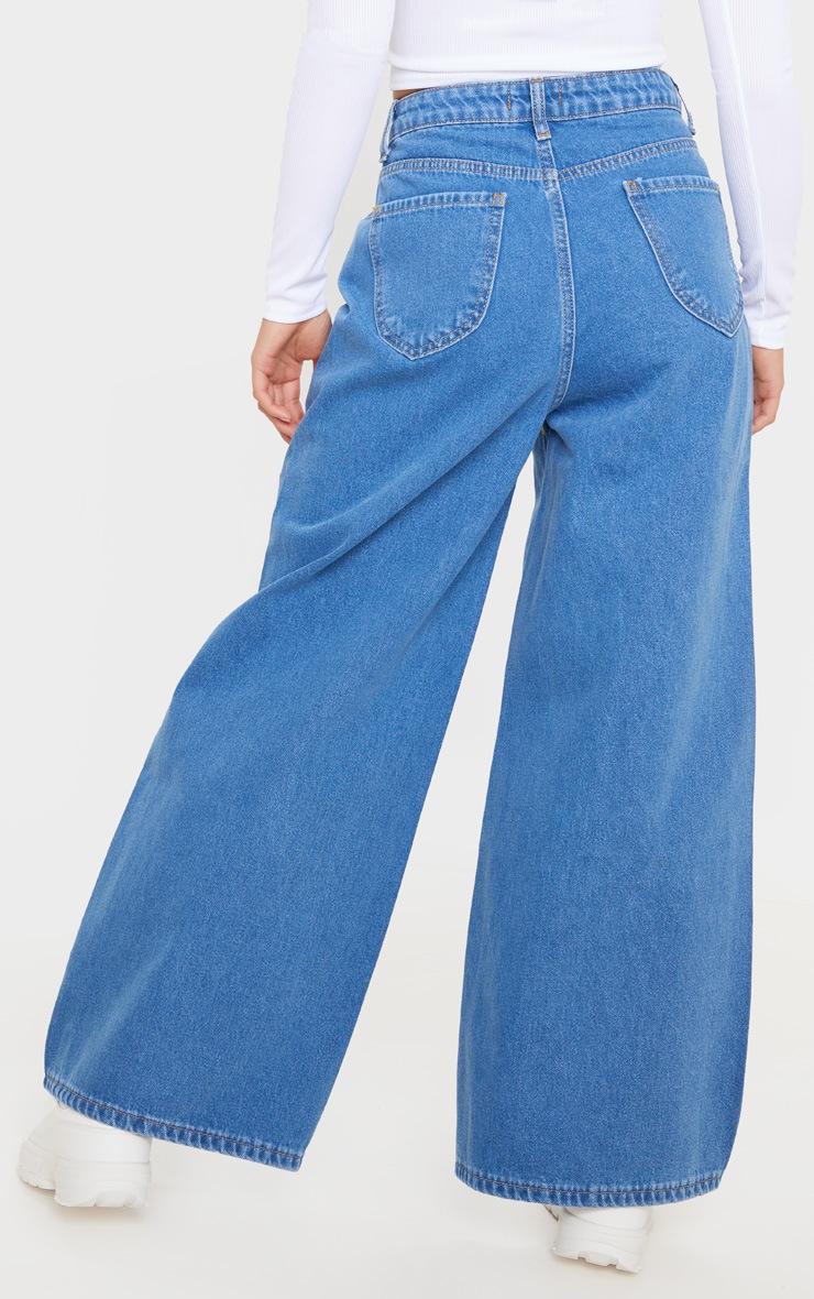 Petite Mid Wash Wide Leg Jeans 4