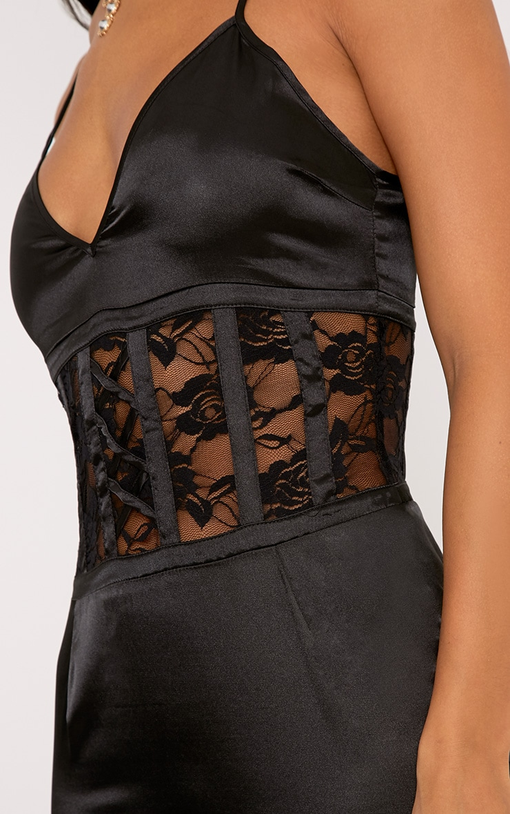 Kadija Black Satin Lace Corset Detail Bodycon Dress 5