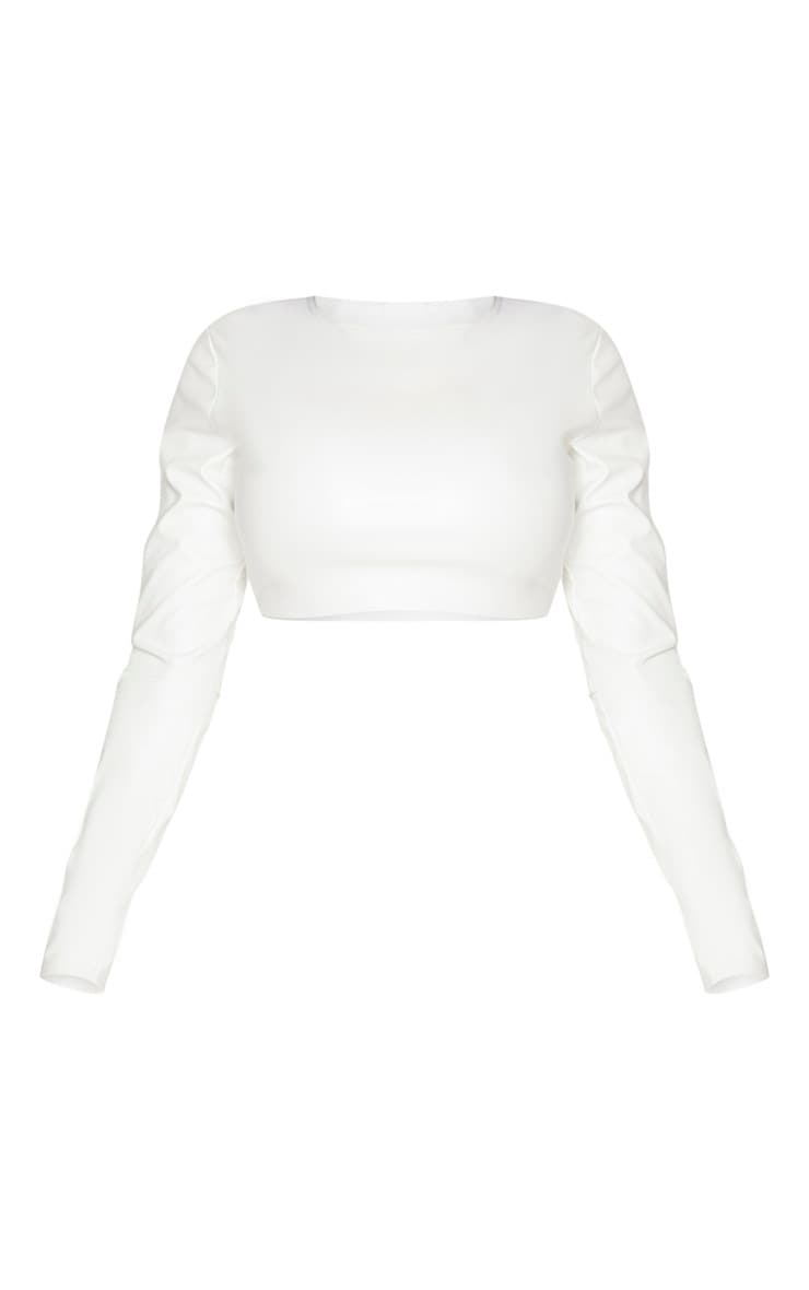 Shape Cream PU Long Sleeve Crop Top 3