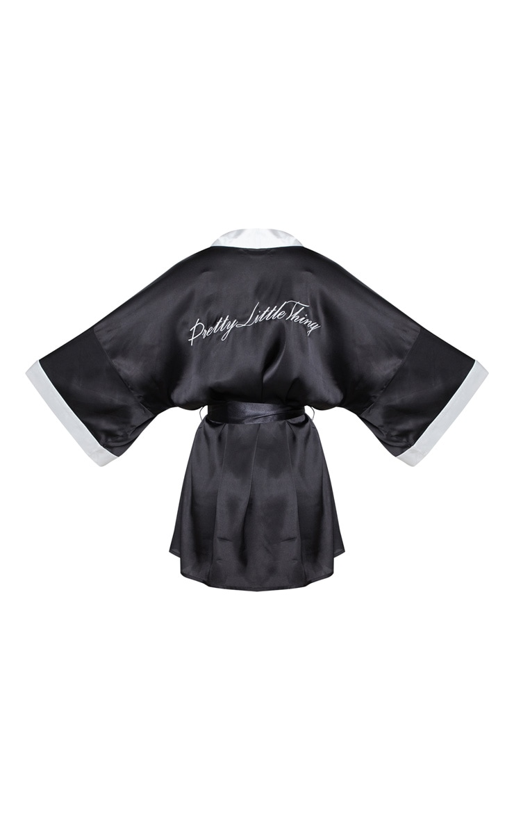 PRETTYLITTLETHING Black Satin Robe 4