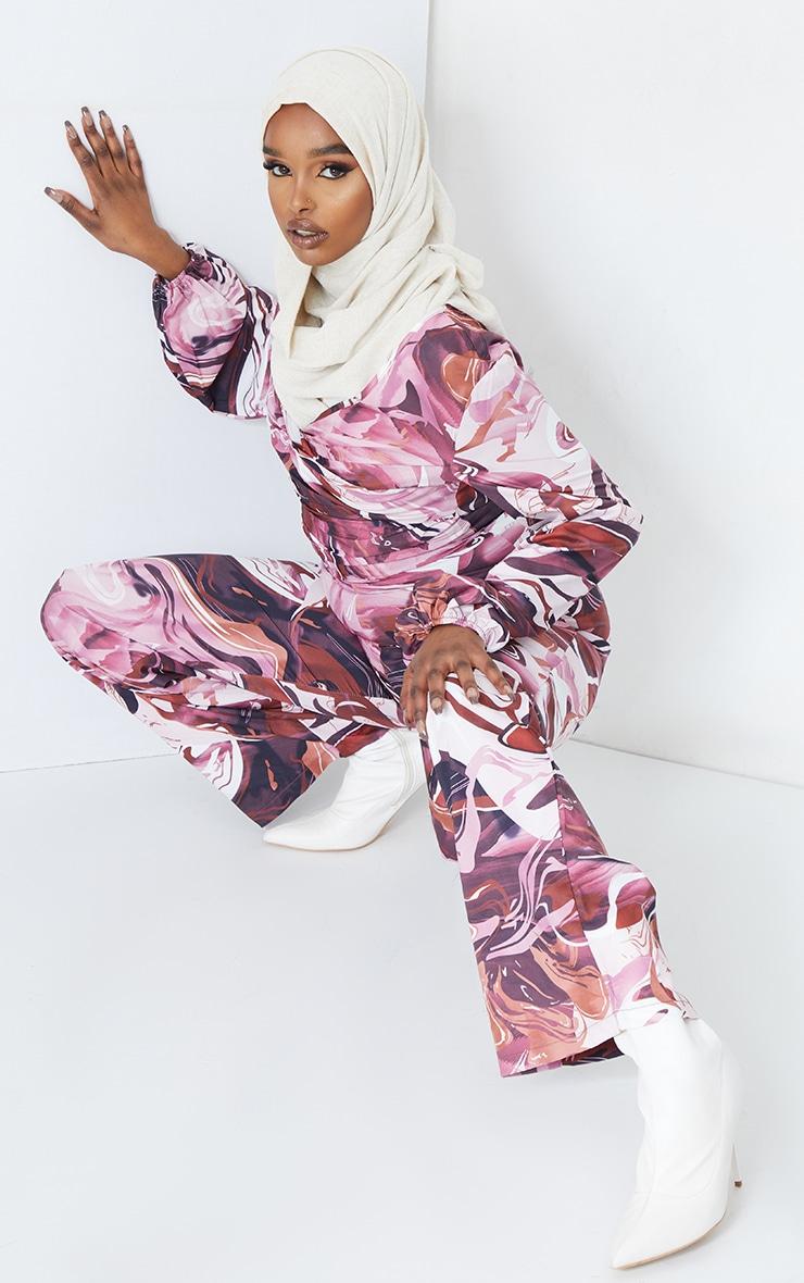Brown Marble Print Twist Long Sleeve Jumpsuit 4