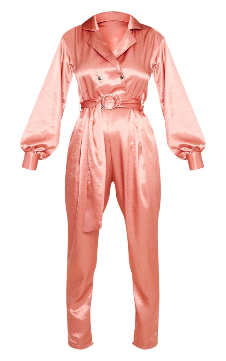 Pink Satin Balloon Sleeve Blazer Jumpsuit 4