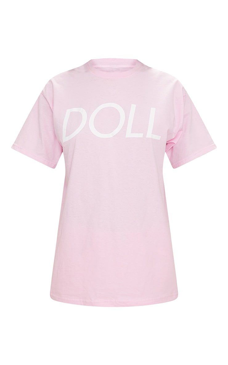 T-shirt oversized rose bébé à slogan Doll 4