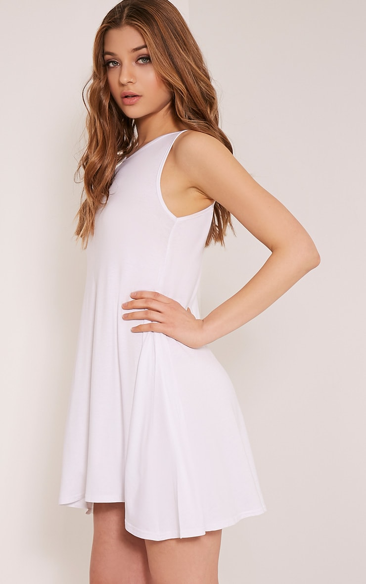 Basic White Sleeveless Swing Dress 4