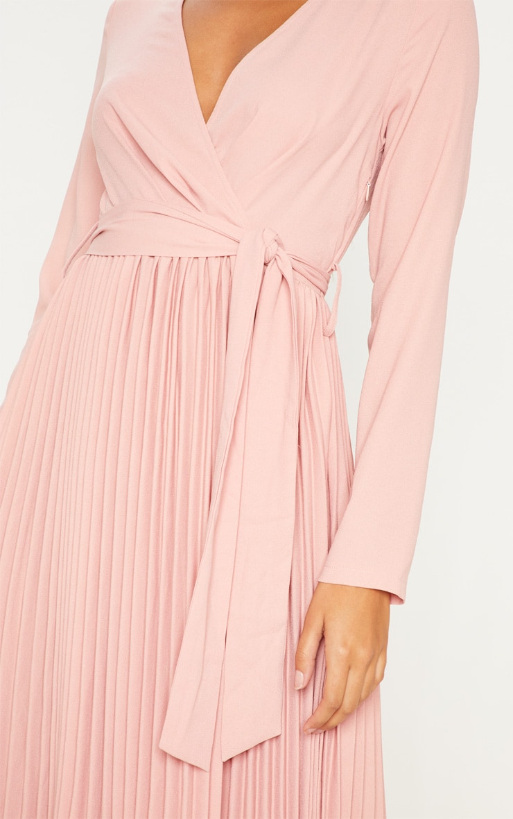 Rose Long Sleeve Pleated Midi Dress 5