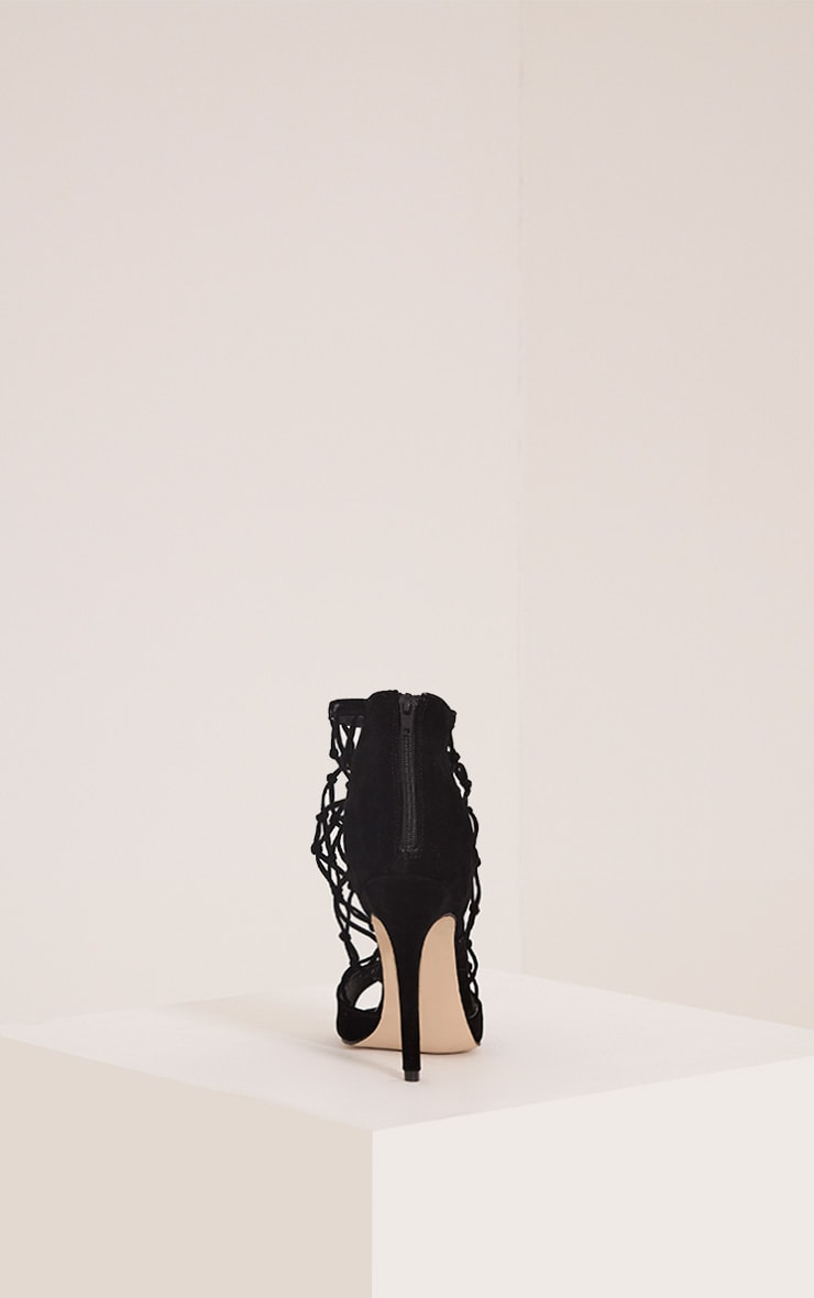 Yasmin Black Net Detail Heeled Sandals 4