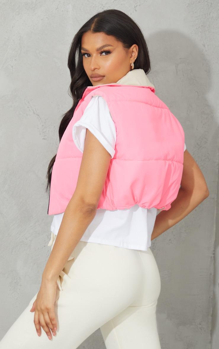 Pink Reversible Cropped Gilet 2