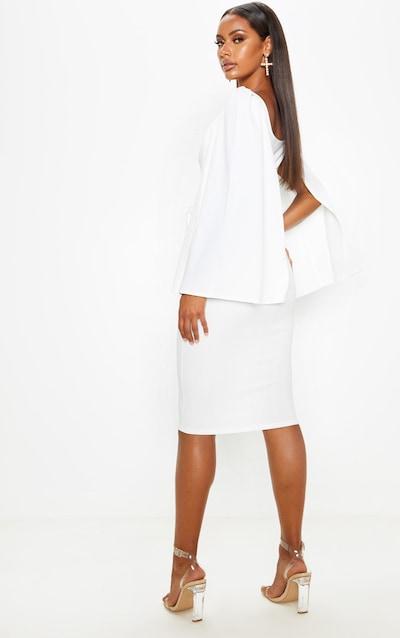 White Cape Sleeve Tie Waist Midi Dress