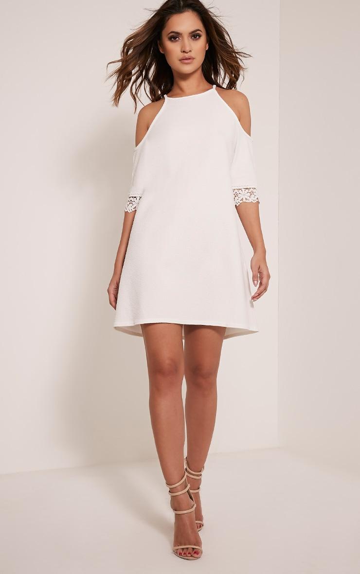 Christie White Lace Trim Cold Shoulder Dress 5