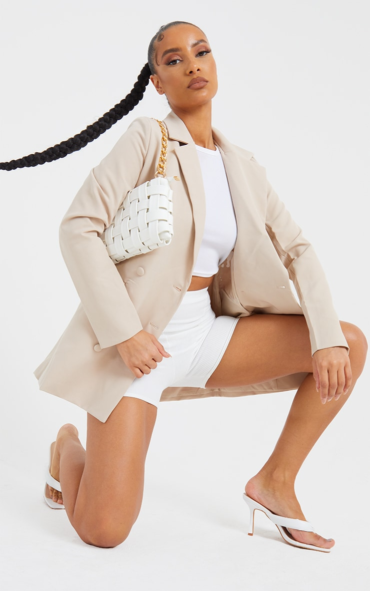 White Oversized Weave With Gold Chain Shoulder Bag 1
