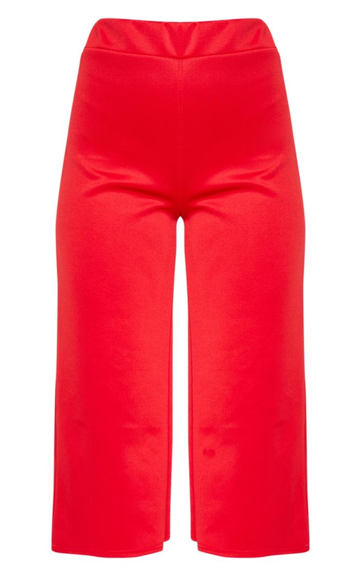 Red Basic High Waisted Scuba Culottes 3