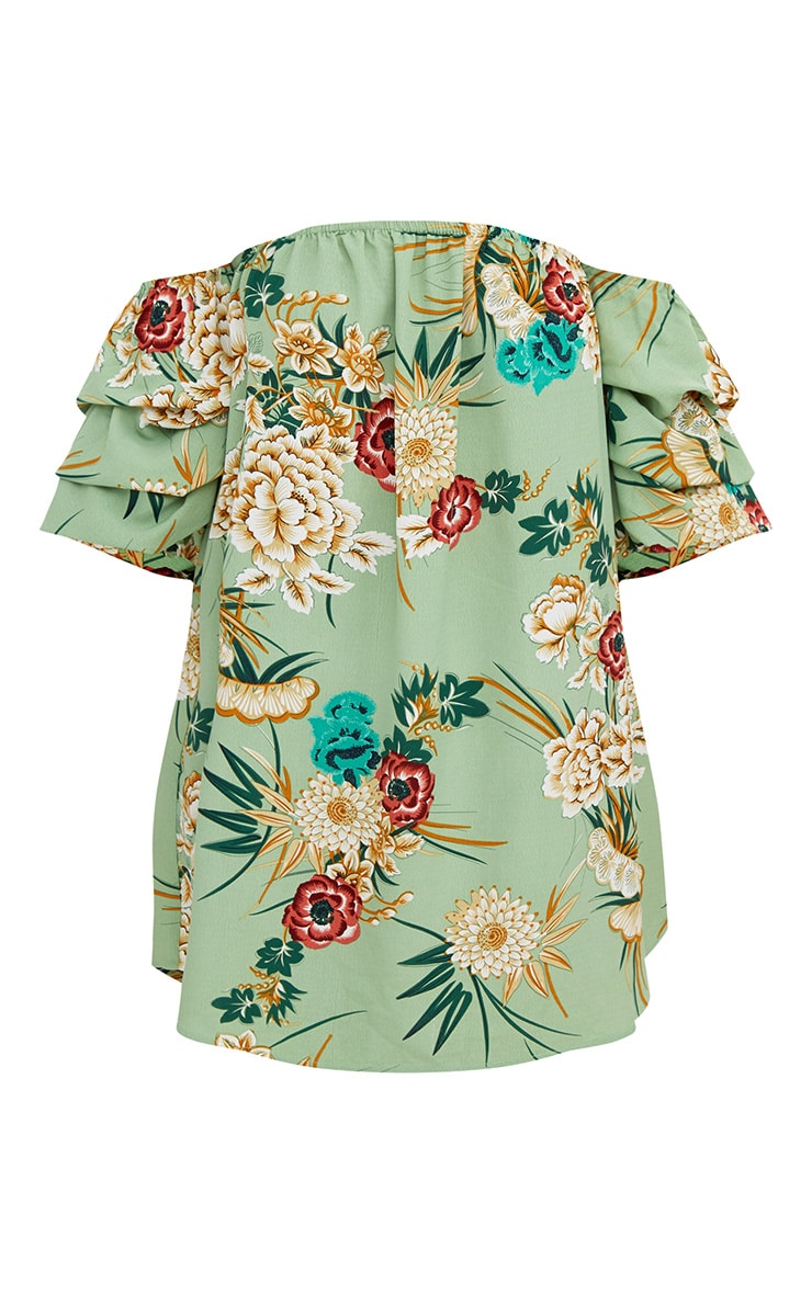 Green Floral Ruched Bardot Sleeve Shift Dress 3