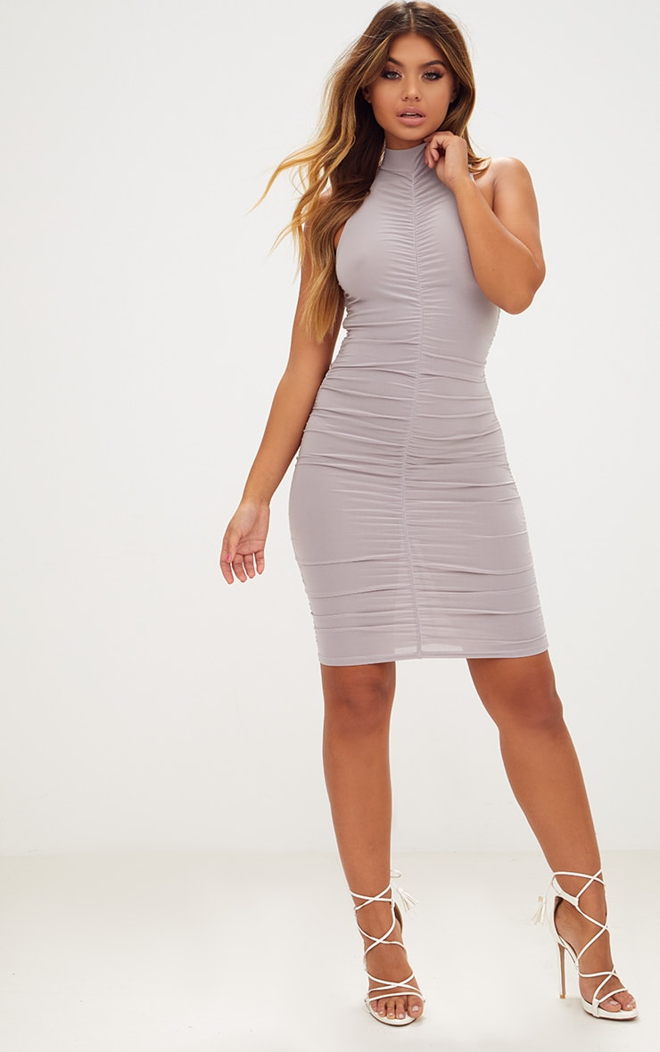 Ice Grey High Neck Sleeveless Ruched Slinky Bodycon Dress 4