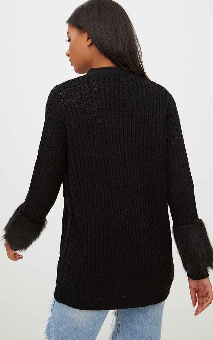 Black Faux Fur Sleeve Cardigan 2