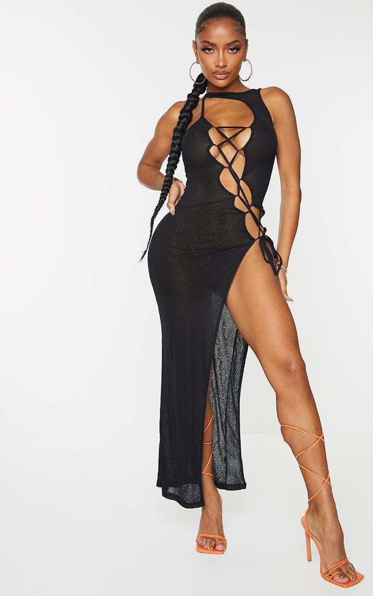 Shape Black Sheer Knit Lace Up Maxi Dress 6
