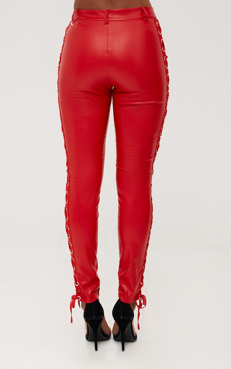 Red Faux Leather Lace Up Skinny Trousers 4