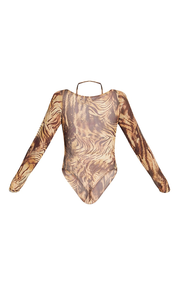 Nude Animal Printed Mesh Halterneck Long Sleeve Bodysuit 6