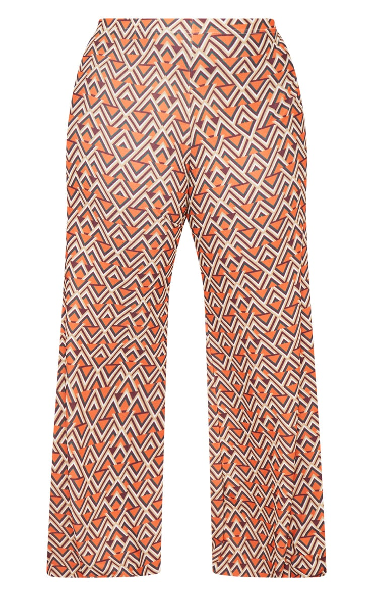 Plus Orange Aztec Print Wide Leg Pants  3