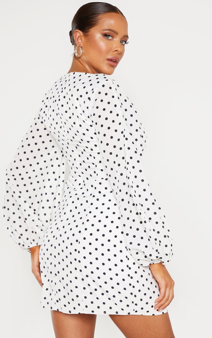 White Polka Dot Square Neck Bodycon Dress 2