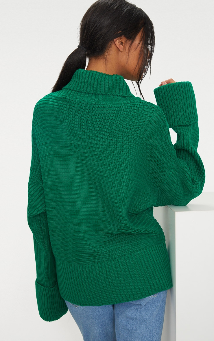 Emerald Green Extreme Sleeve Roll Neck Jumper 2