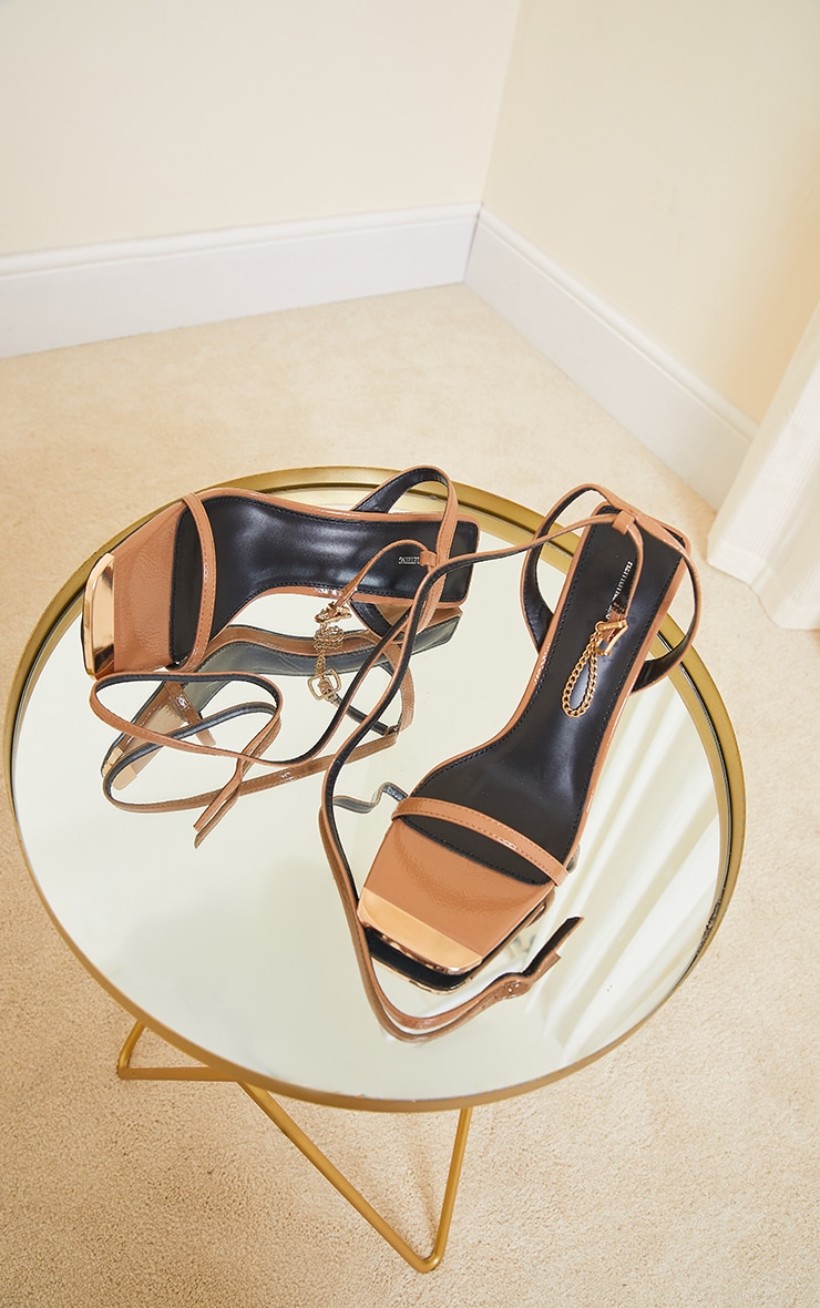 Camel Square Toe High Heel Chain Trim Sandals 3