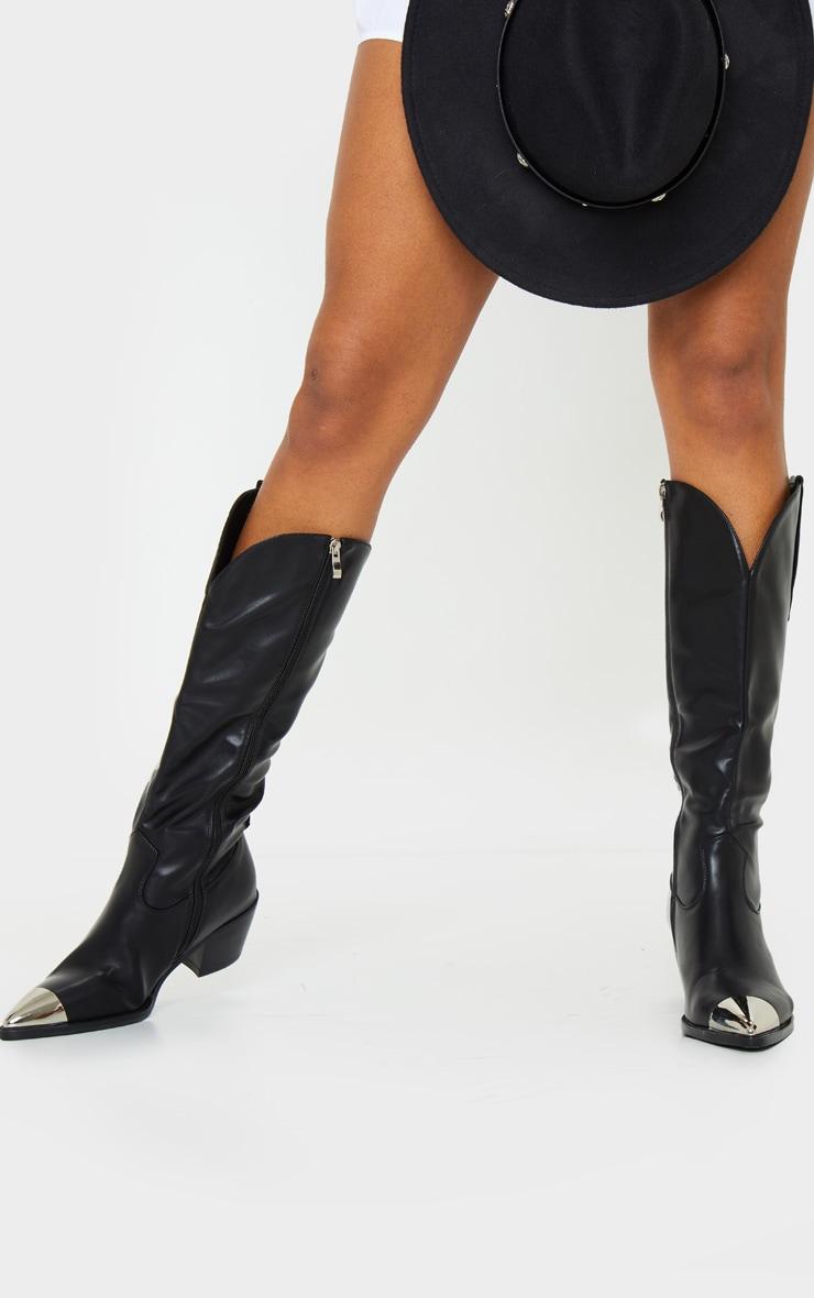 Black Metal Toe Calf Western Boot 2