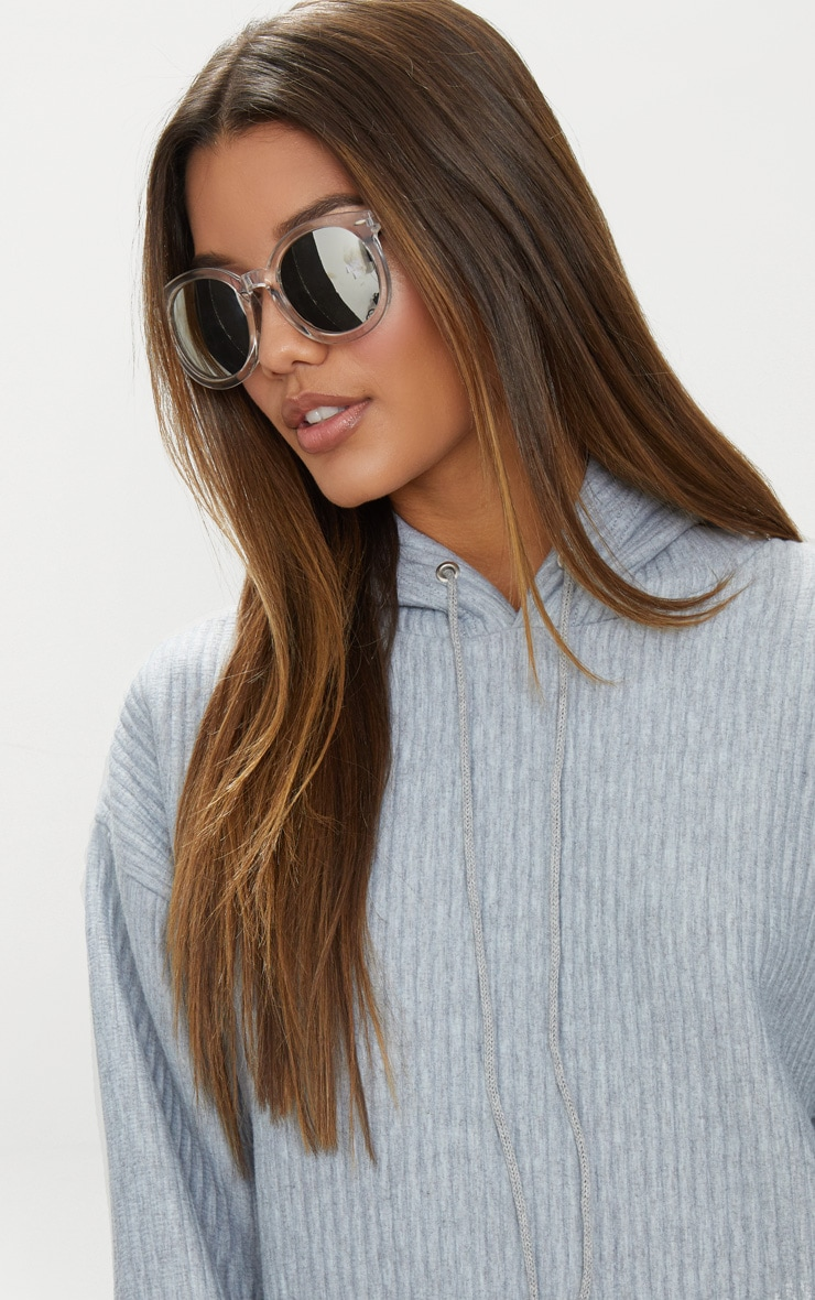 Clear Acrylic Frame Rounded Sunglasses 1