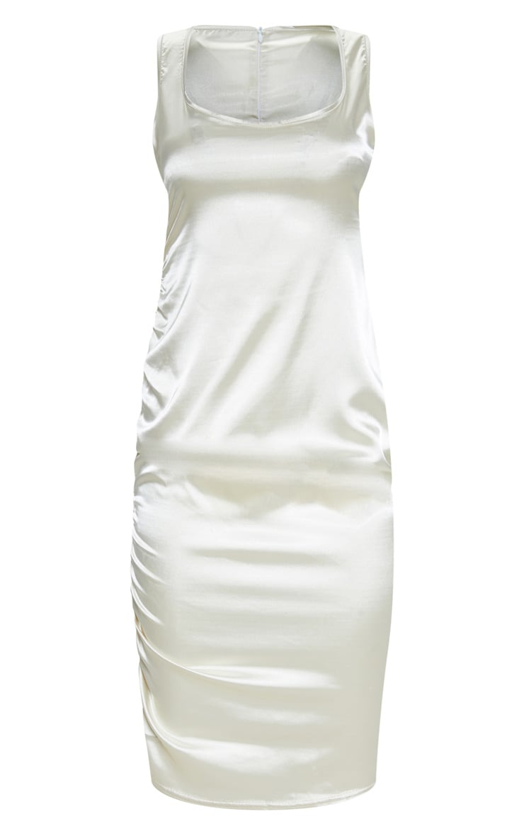 Champagne Ruched Satin Midi Dress 3