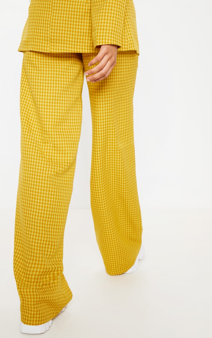 Yellow Check Wide Leg Pants 4