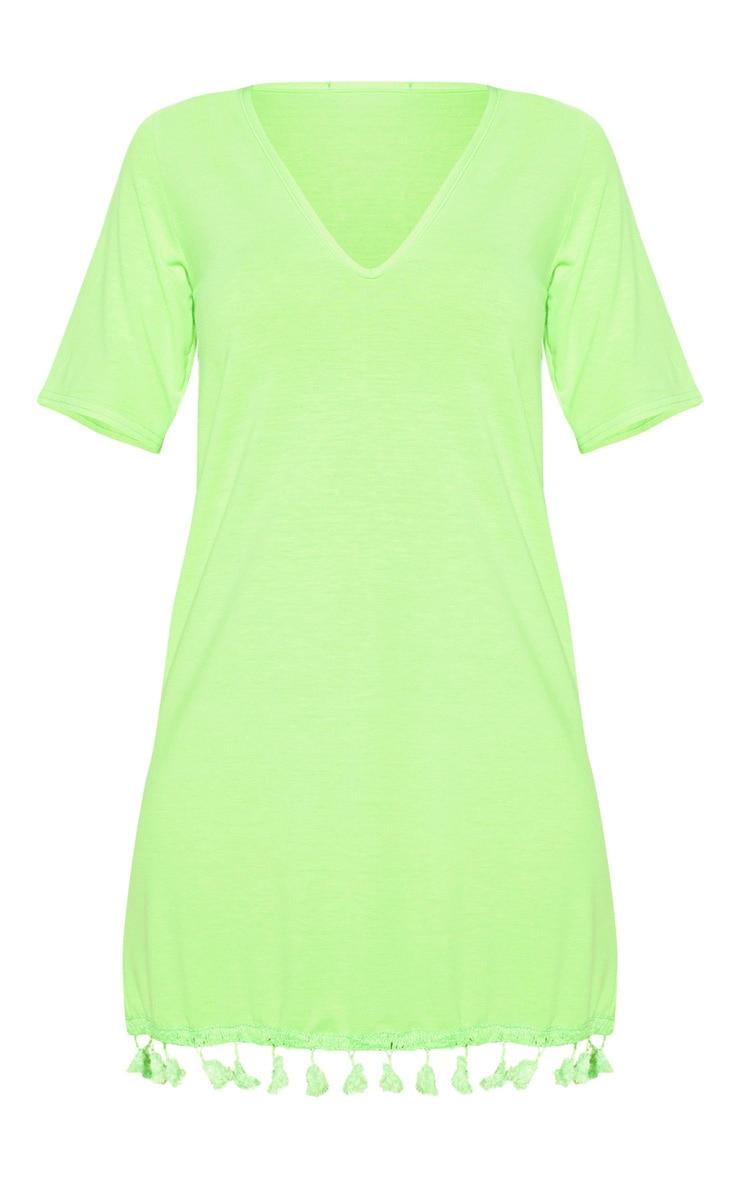 Neon Lime Tassel Trim T Shirt Dress 3