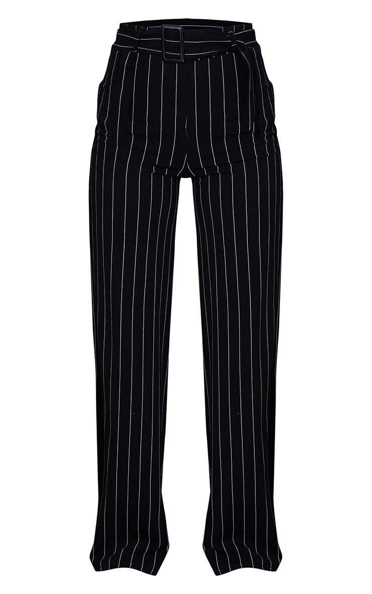 Black Pinstripe Belted Wide Leg Trousers 5