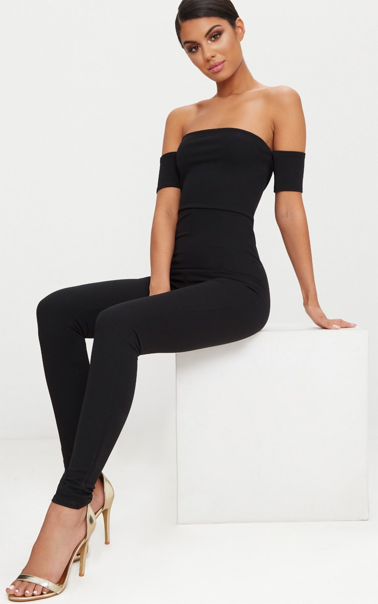 Black Bardot Short Sleeve Jumpsuit 1