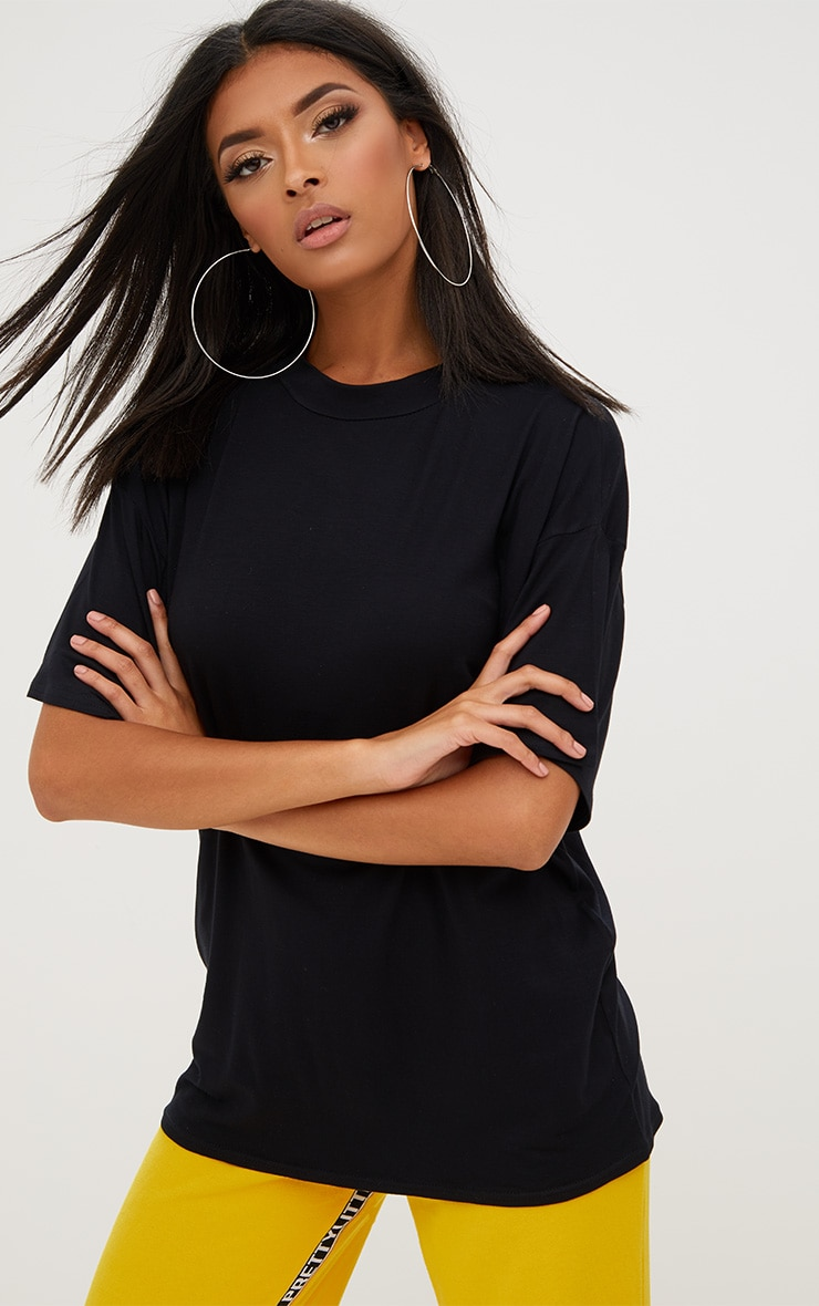 Black Basic Oversized Cropped Sleeve T Shirt 1