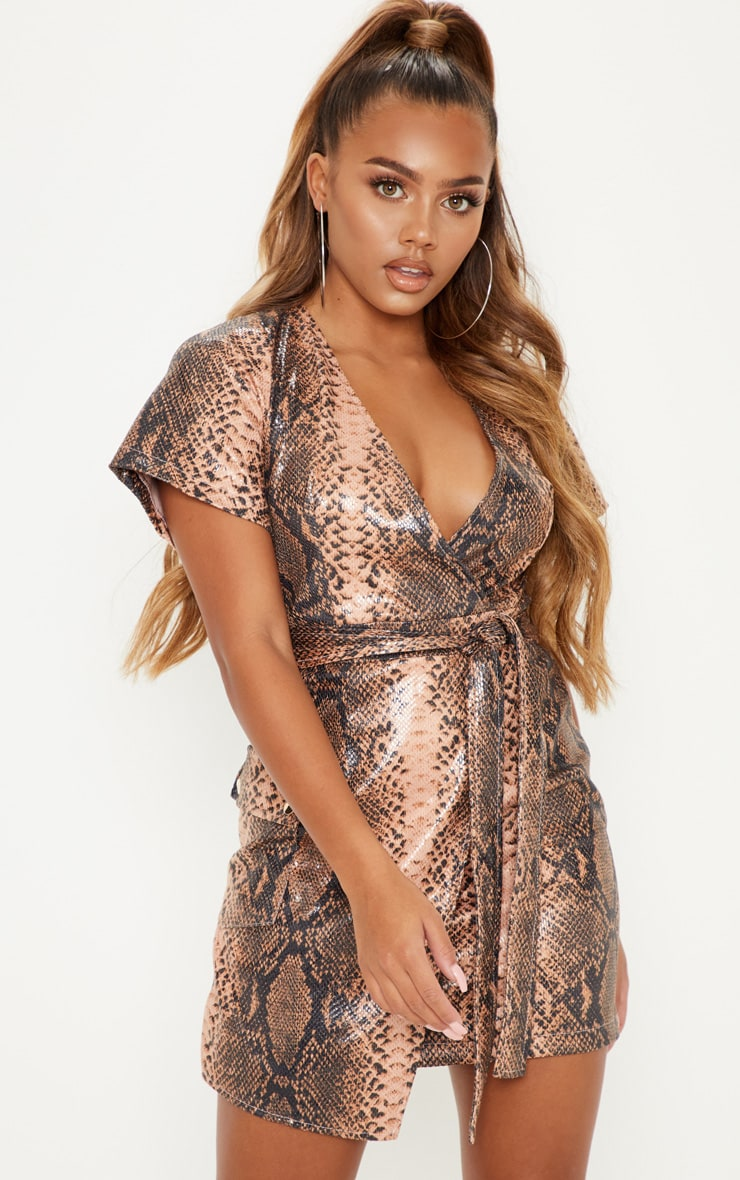 Nude PU Snake Print Wrap Bodycon Dress 1