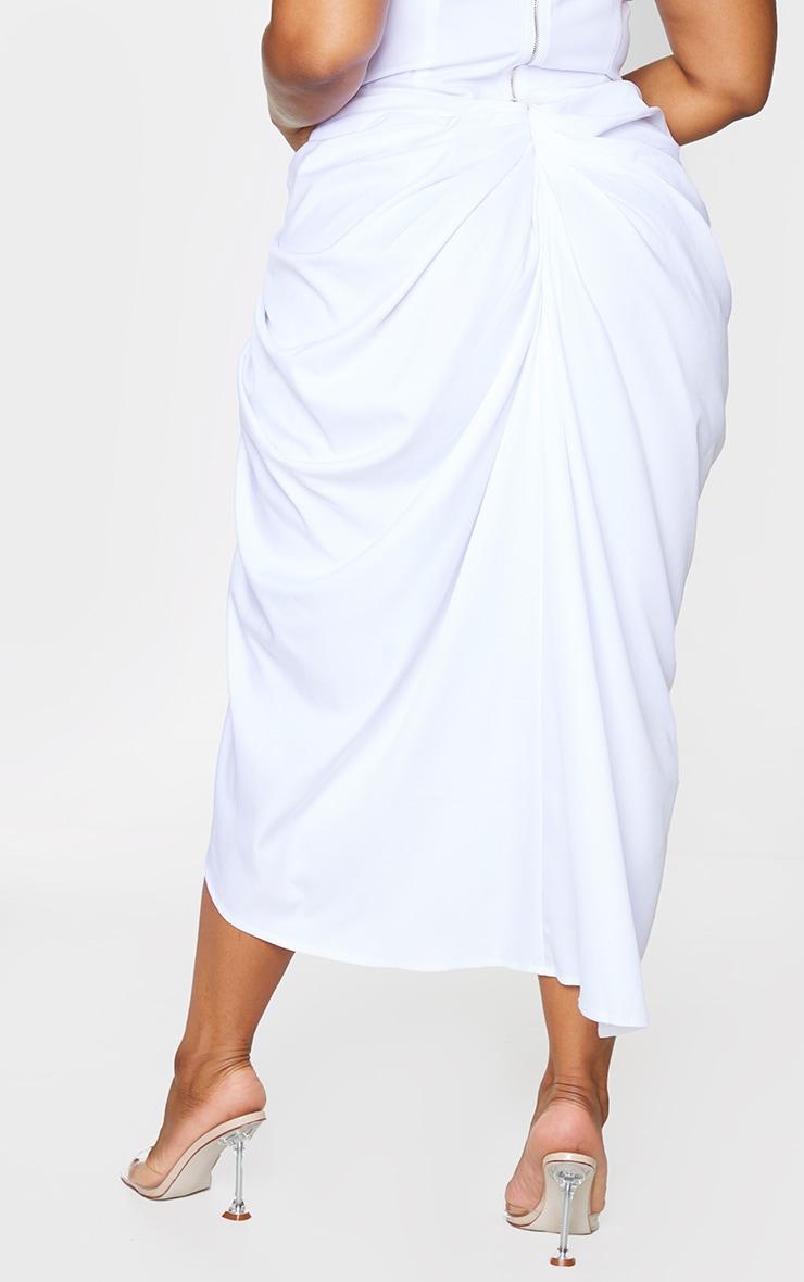 Plus White Ruched Side Midi Skirt 3
