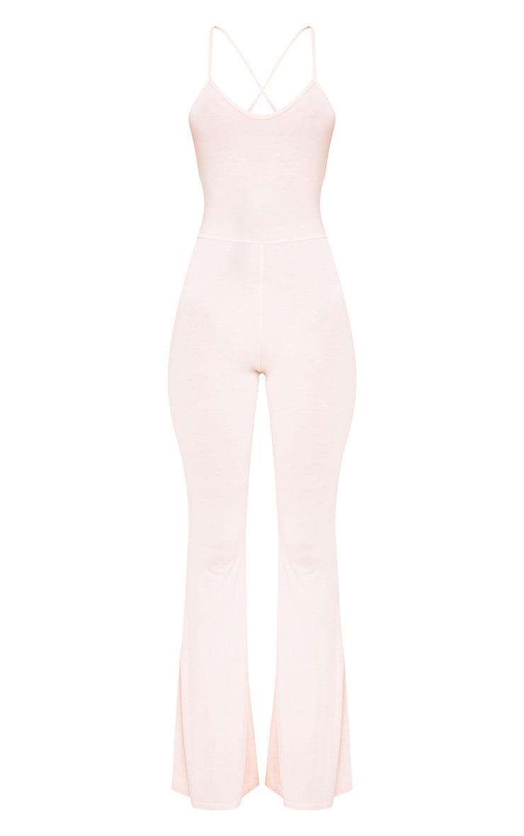 Cilla Nude Basic Jersey Flare Leg Jumpsuit 3