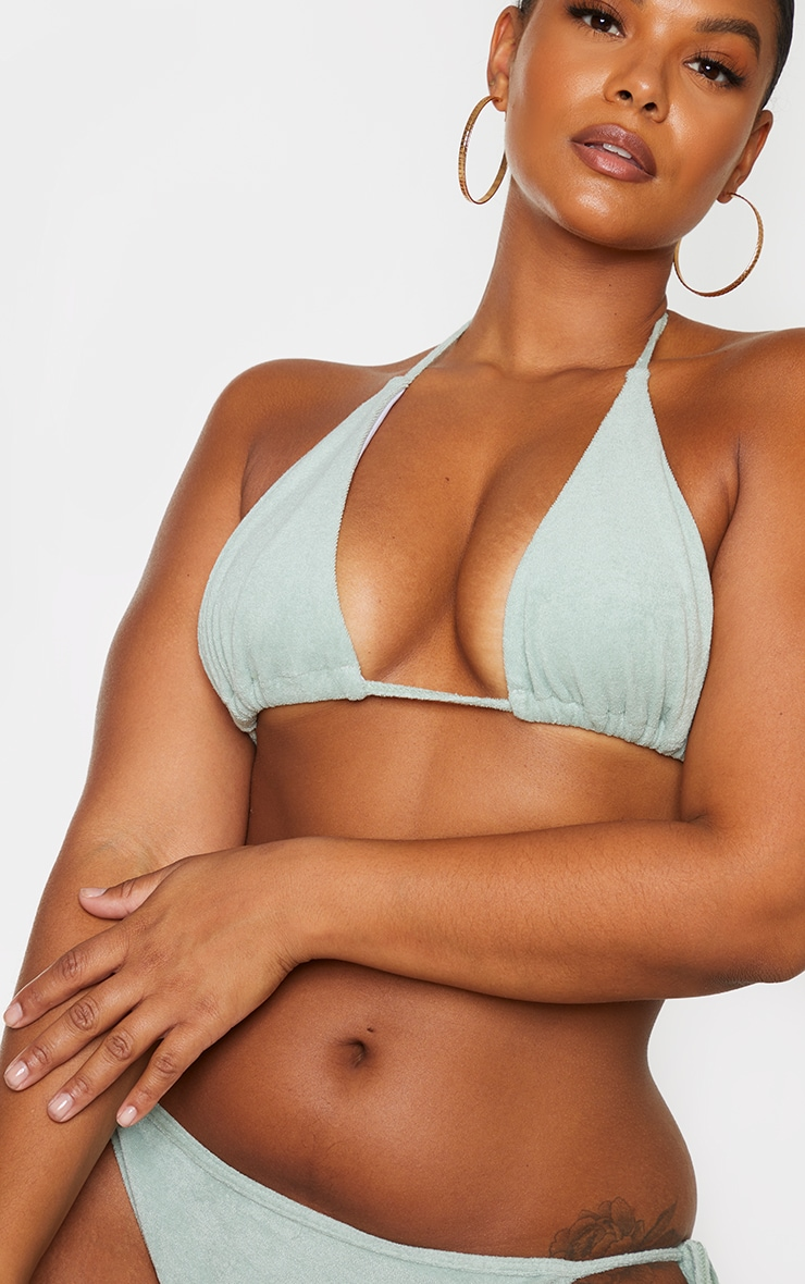 Plus Sage Green Towelling Triangle Bikini Top 4