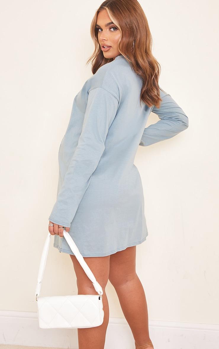 Maternity Steel Blue Calabasas T Shirt Dress 2